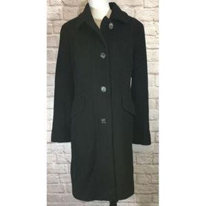 Anne Klein Lambs Wool Cashmere Black Coat